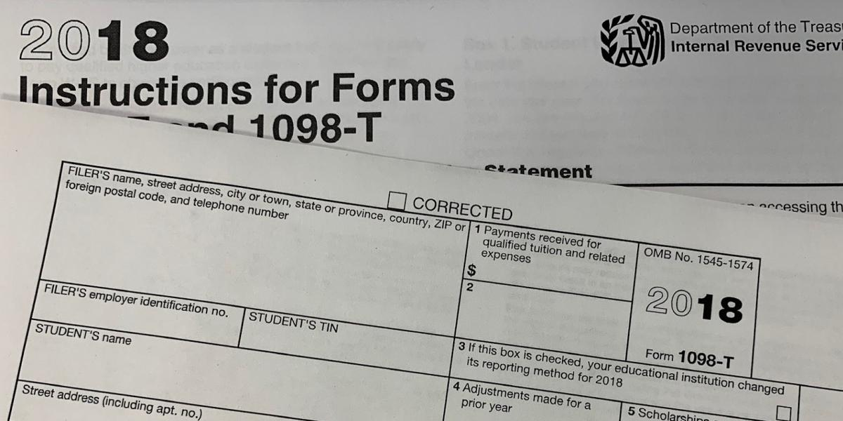 2018 Form 1098-T blank and IRS Header 2018 Instructions