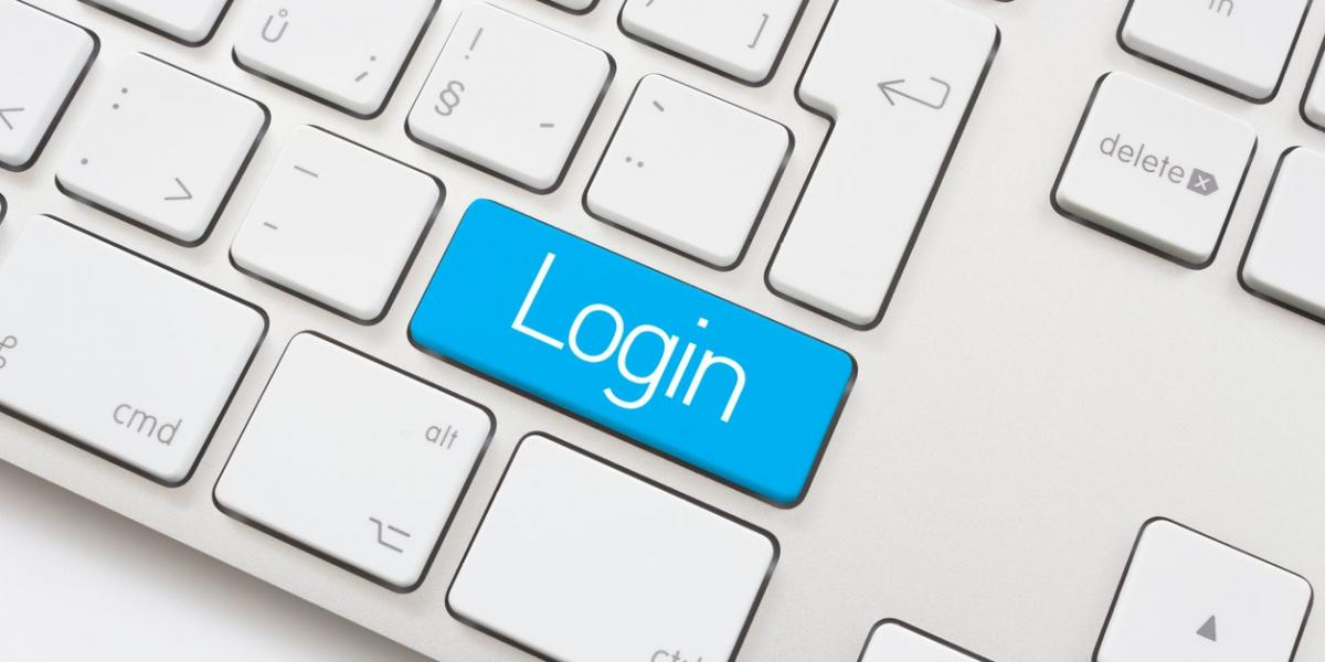 keyboard with login button in blue
